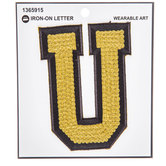 Gold Sequin Iron-On Letter U - 4 3/4""